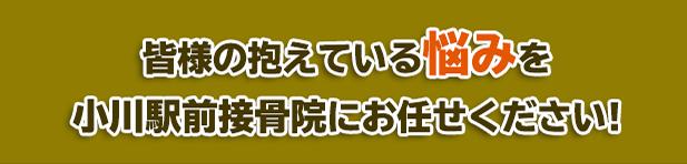 皆様の抱えている悩みを小川駅前接骨院にお任せください!
