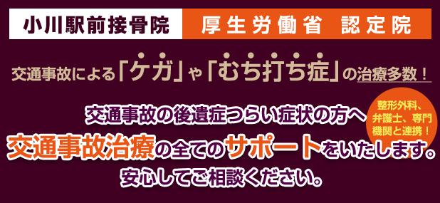 小川駅前接骨院は厚生労働省の認定院です。交通事故治療のすべてをサポートします。