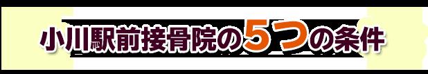 小川駅前接骨院の5つの条件